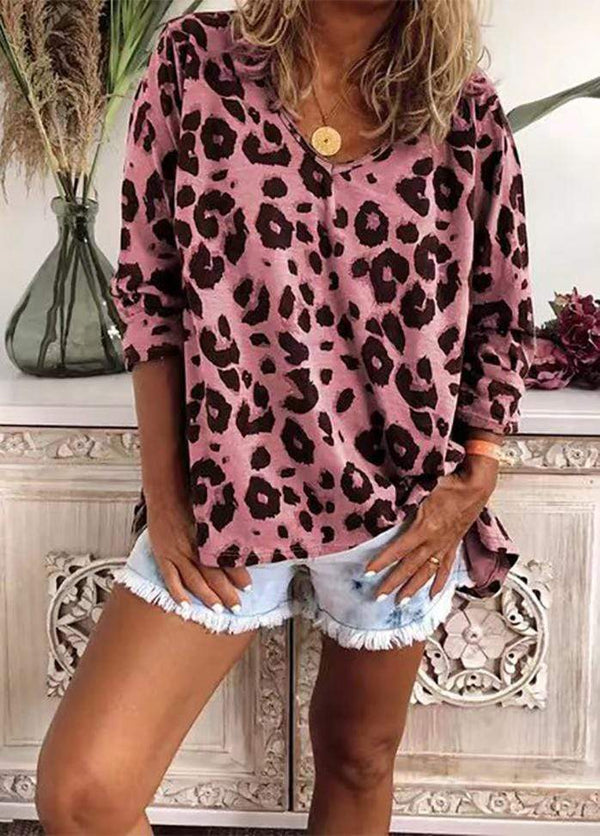 Leopard Printed Long Sleeve Shirt Pink / XS 2002240305708