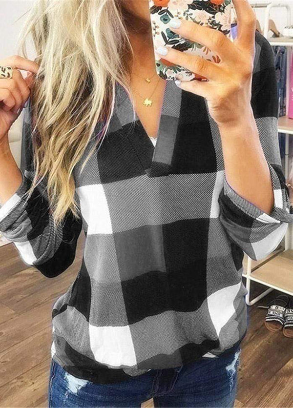 Long Sleeve V Neck Plaid Blouse Gray / XS 2004080330708