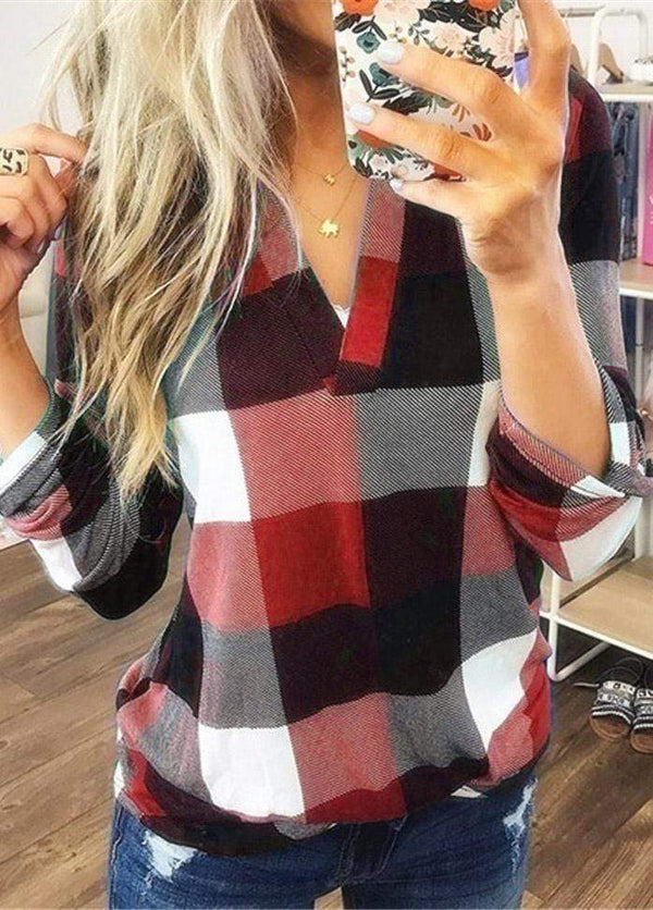 Long Sleeve V Neck Plaid Blouse Red / XS 2004080330701