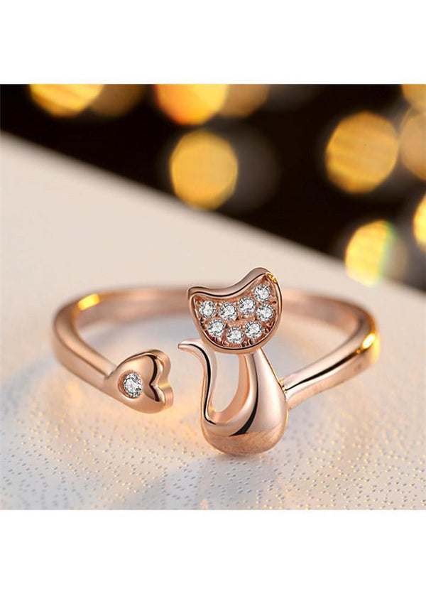 Rhinestone Decorated Cat Shape Silver Metal Ring Gold 1901250511401