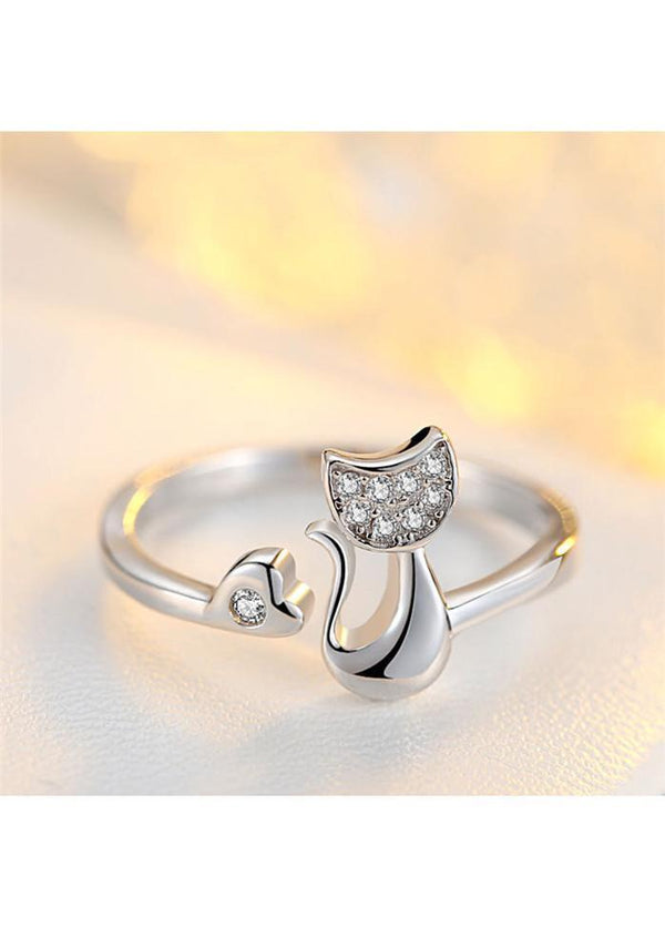Rhinestone Decorated Cat Shape Silver Metal Ring Silver 1901250511501