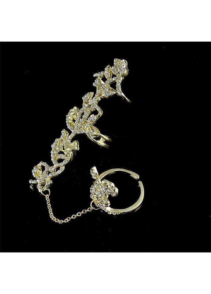 Rhinestone Decorated Gold Metal Rose Shaped Ring Gold 1901250511601