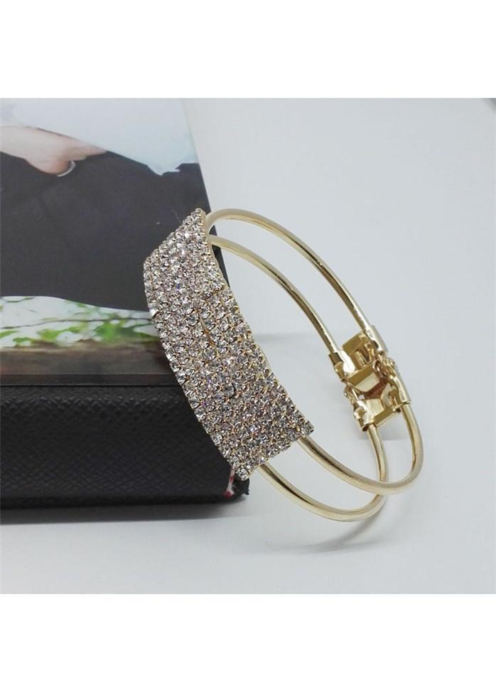 Rhinestone Decorated Gold Metal Wide Cuff Bracelet Gold 1901250515601
