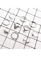 Rhinestone Decorated Silver Metal Ring Set for Woman Silver 1901250510601