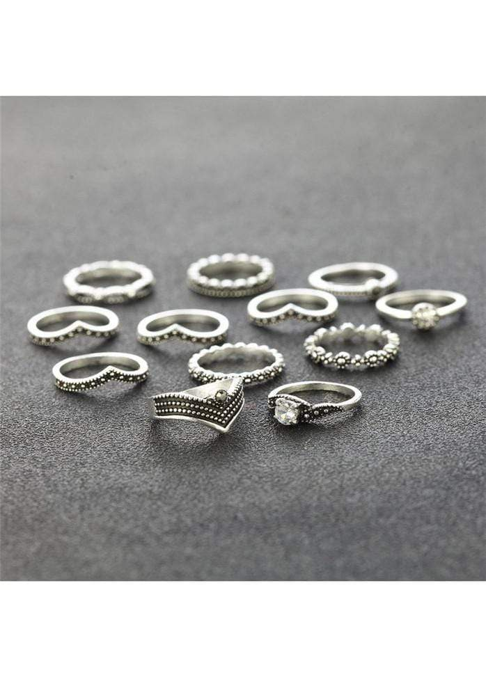 Rhinestone Decorated Silver Metal Rings Set Silver 1901250507401