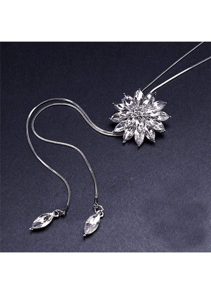 Rhinestone Decorated Tassel Design Flower Shape Pendant Necklace White 1901250505301