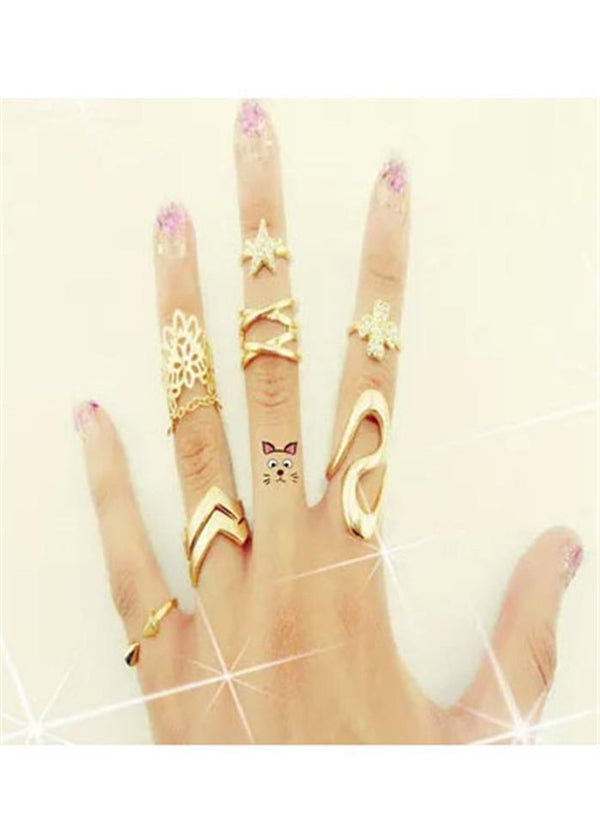 Rhinestone Embellished Gold Metal Rings Set Gold 1901250506501
