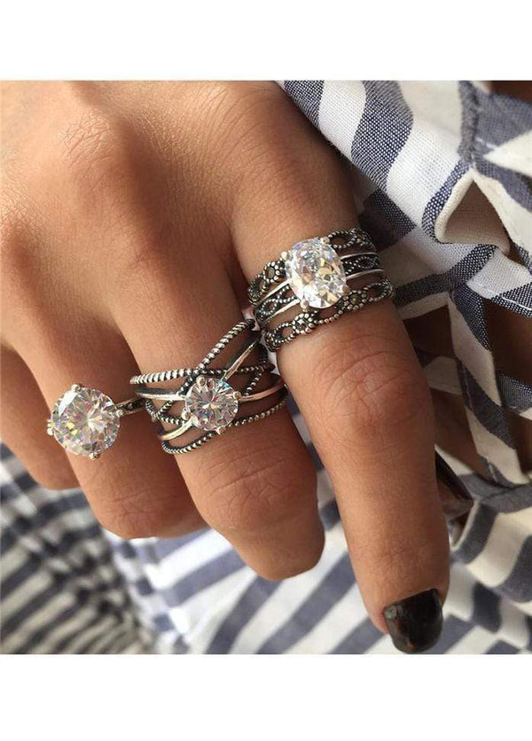 Rhinestone Embellished Ring Set for Woman Silver 1901250507301
