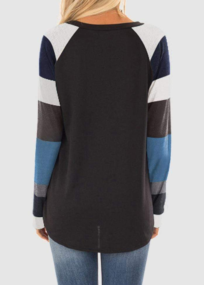 Round Neck Patchwork Long Sleeve T-shirt
