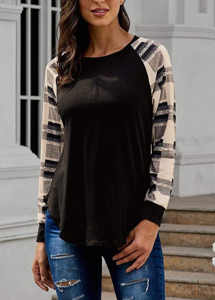 Round Neck Patchwork Long Sleeve T-shirt Apricot / S 2004070330225
