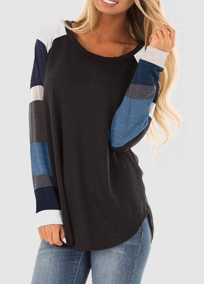 Round Neck Patchwork Long Sleeve T-shirt Black / S 2004070330201