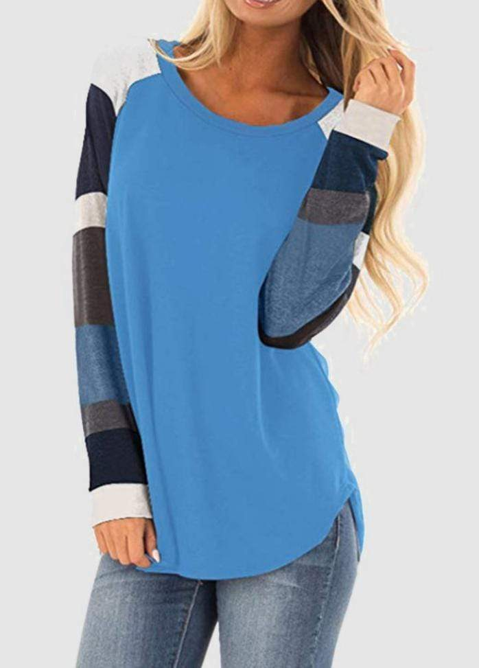 Round Neck Patchwork Long Sleeve T-shirt Blue / S 2004070330213