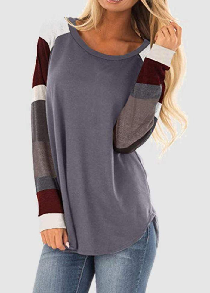 Round Neck Patchwork Long Sleeve T-shirt Gray / S 2004070330207