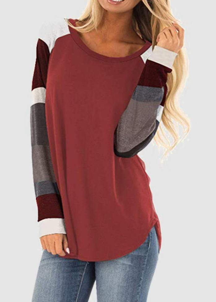 Round Neck Patchwork Long Sleeve T-shirt WineRed / S 2004070330219