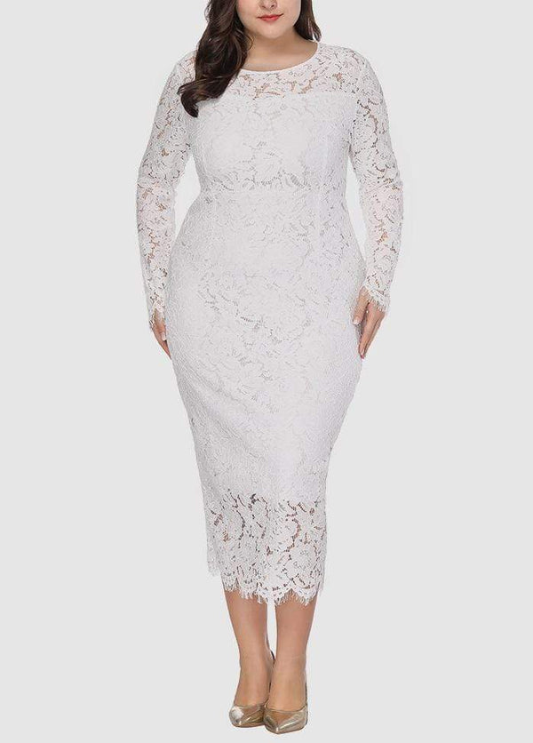 Round Neck Solid Color Long Sleeve Dress White / 0X 2003040734801