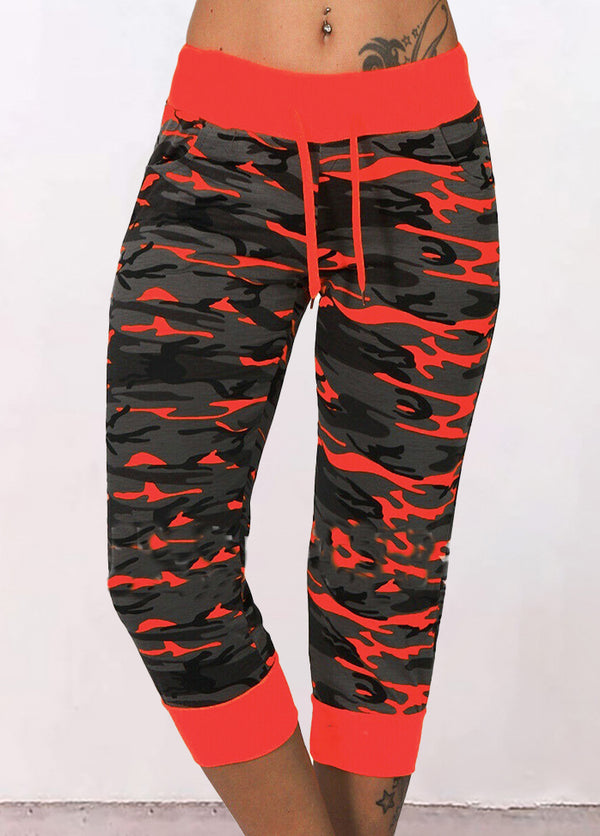 Camouflage Printed Cropped Pants