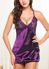 Back Cross Straps Solid Color Nightdress