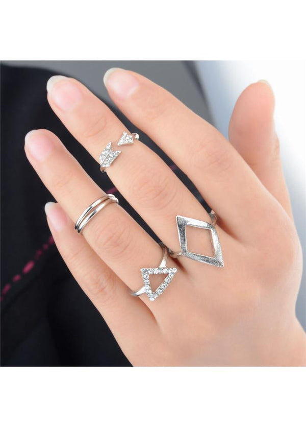 Silver Metal Geometric Shape Rhinestone Decorated Rings Silver 1901250518501