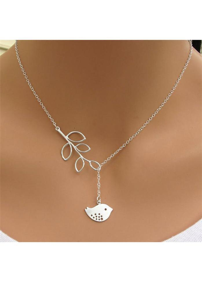 Silver Sterling Bird Pendant Leaves Lariat Necklace Silver 1901250501801