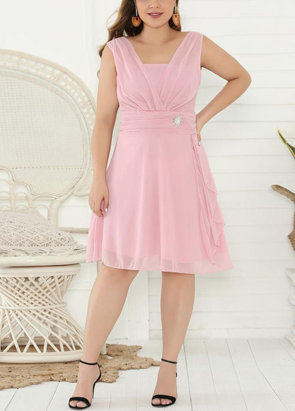 Solid Color Sleeveless V Neck Dress Pink / XS 2003040741501