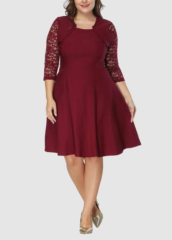 Solid Color Three Quarter Sleeve Lace Patchwork Dress