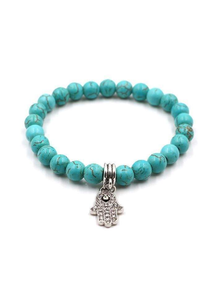 Turquoise Bead Decorated Bracelet for Woman Turquoise 1901250507801
