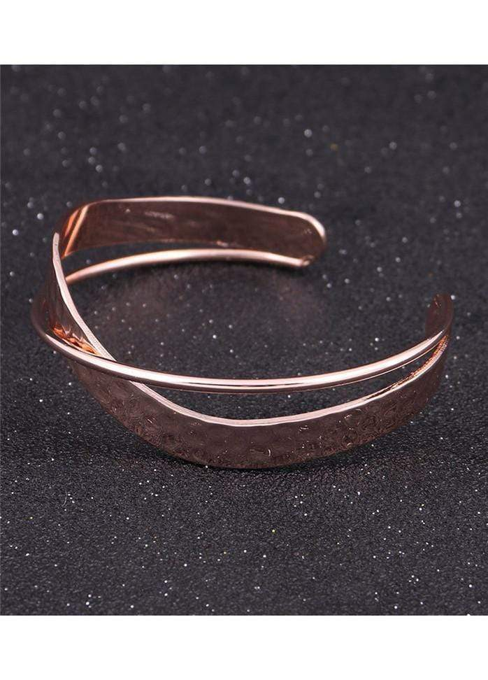 Wide Two Layer Rose Gold Metal Bangle for Woman Rose Gold 1901250500701