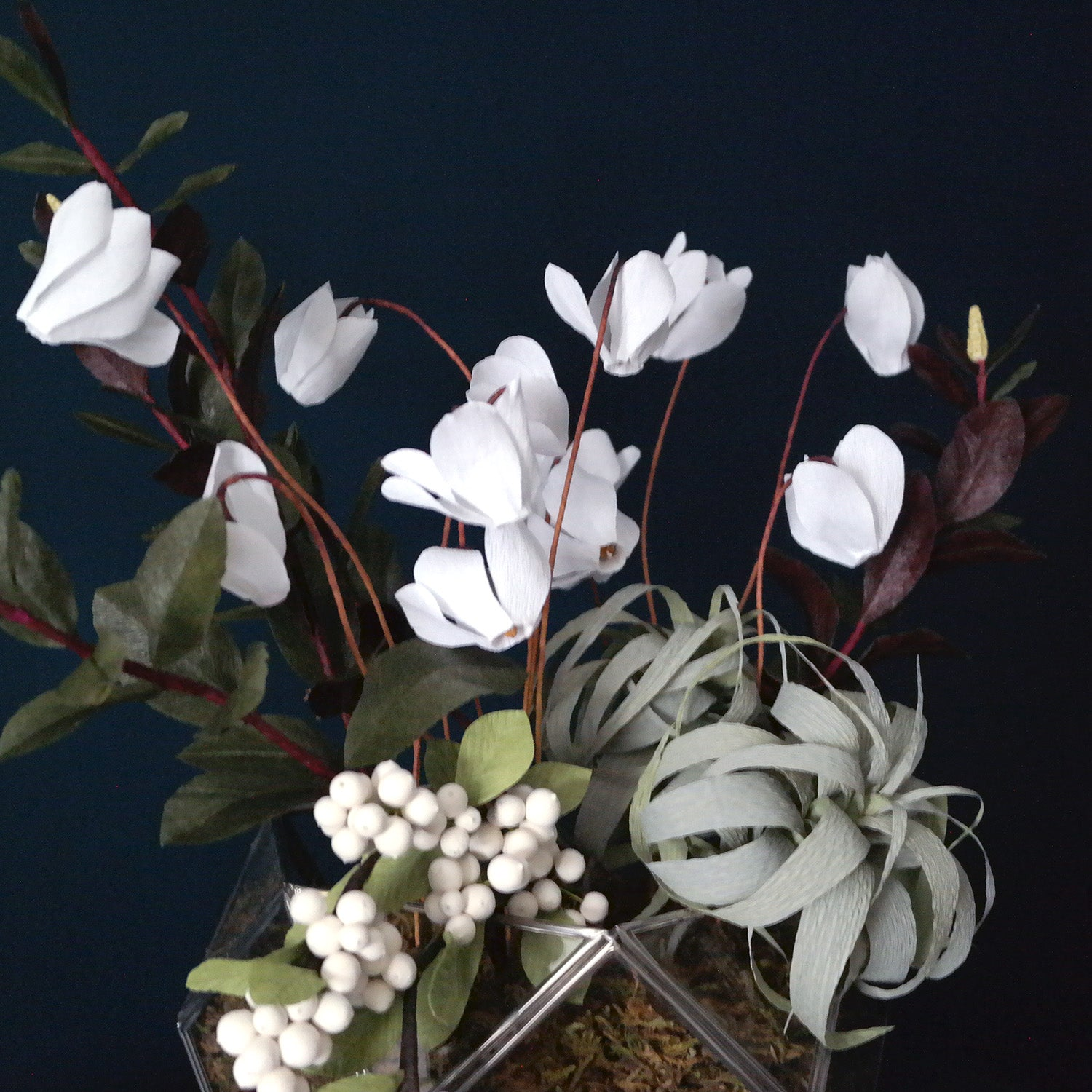 Winter Cyclamen Terrarium Arrangement from Crepe Paper
