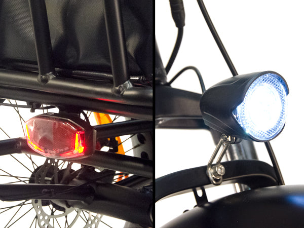 The front and rear intergrated lights are powered by the battery.