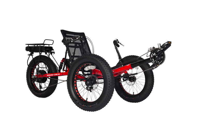 With the fat 4 inch wide tires, the electric Fat-Tad can conquer any terrain