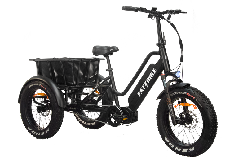 """The electric mid-drive Fat Trike with it's 20"""" by 4 inch wide tires is ready to ride."""