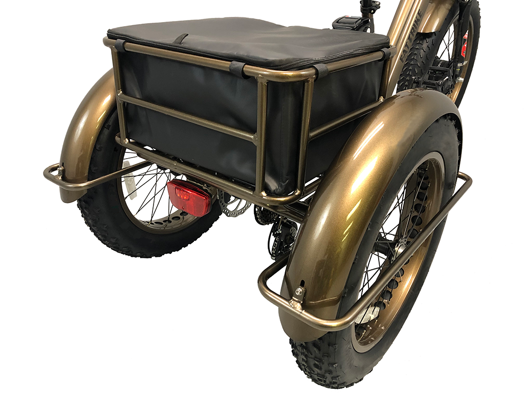 The 33 liter Drybag is mounted within the large rear wired basket