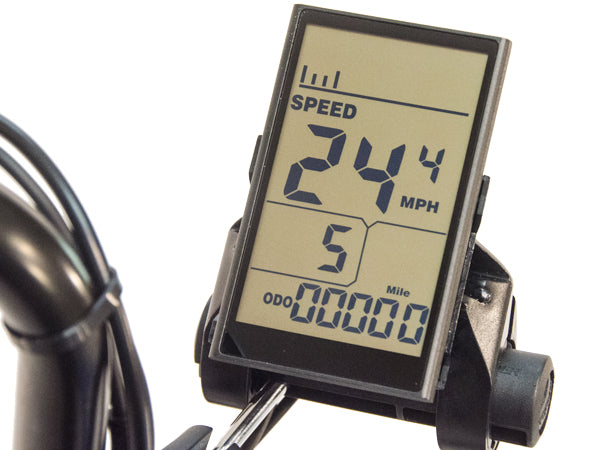 The large, easy to ready LCD disdplay on the electric Eco-Tad SX.