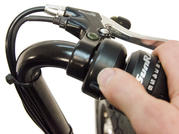 This thumb throttle allows you to engage the motor on the electric Eco-Tad SX