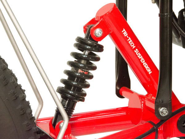 The rear coil-over suspension helps cushion the rider from the trails
