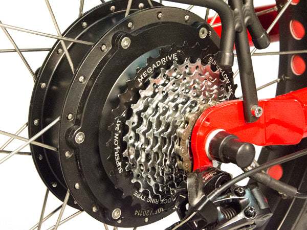 The rear geared hub motor provides 500 - 1000 watts and an impressive 84N-m torque.