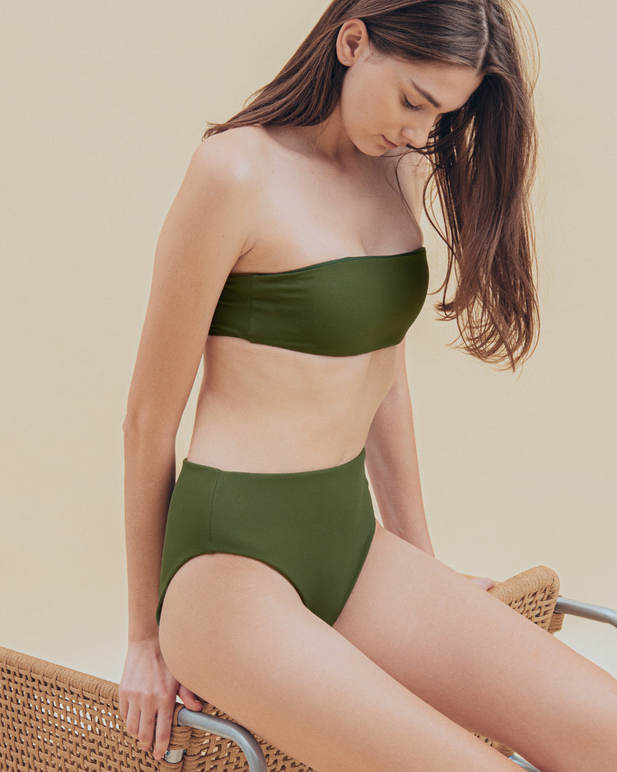 Ava Ribbed Bottom in Hunter - align swim