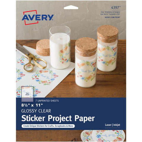 "Avery Sticker Project Paper 8.5"" x 11"" Glossy Clear"