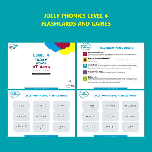 Jolly Phonics Tricky Words Level 4 Printable Flashcards