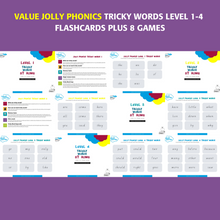 Load image into Gallery viewer, Value Package Jolly Phonics Tricky Words Level 1-4 printable flashcards
