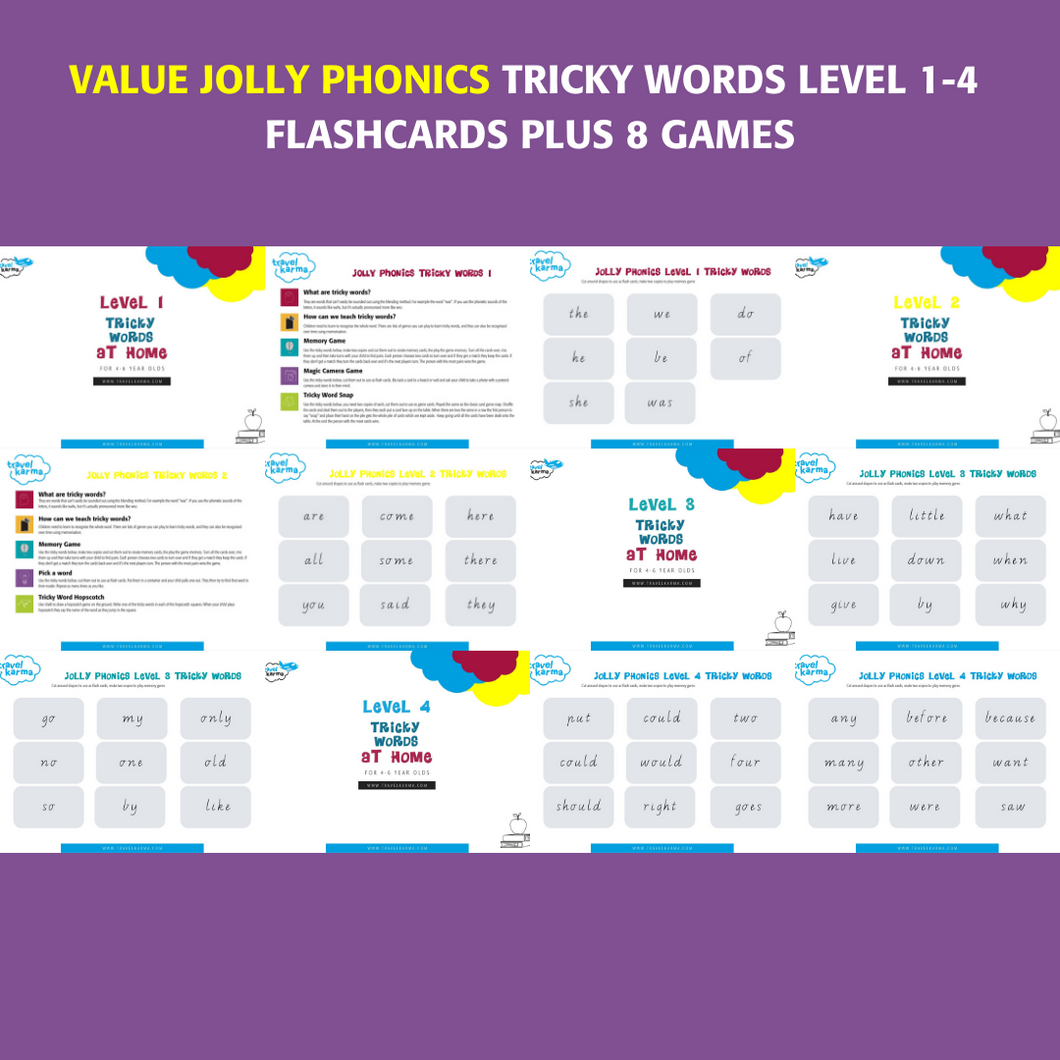 Value Package Jolly Phonics Tricky Words Level 1-4 printable flashcards
