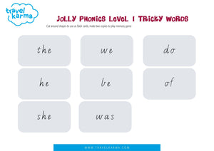 Jolly Phonics Group 1 Tricky Words Printable Flashcards