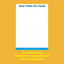 Load image into Gallery viewer, Dotted Thirds Writing Worksheet with Space to Draw