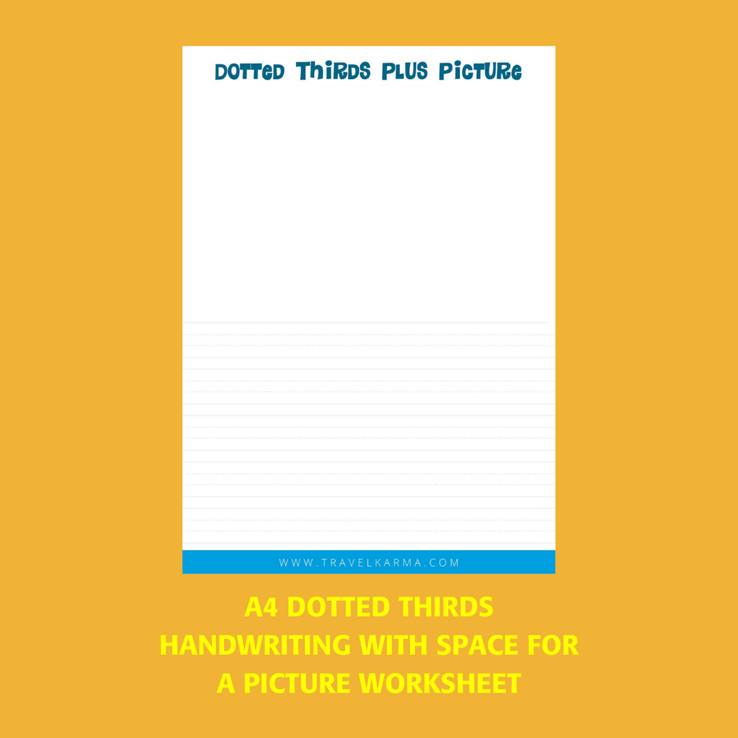 Dotted Thirds Writing Worksheet with Space to Draw