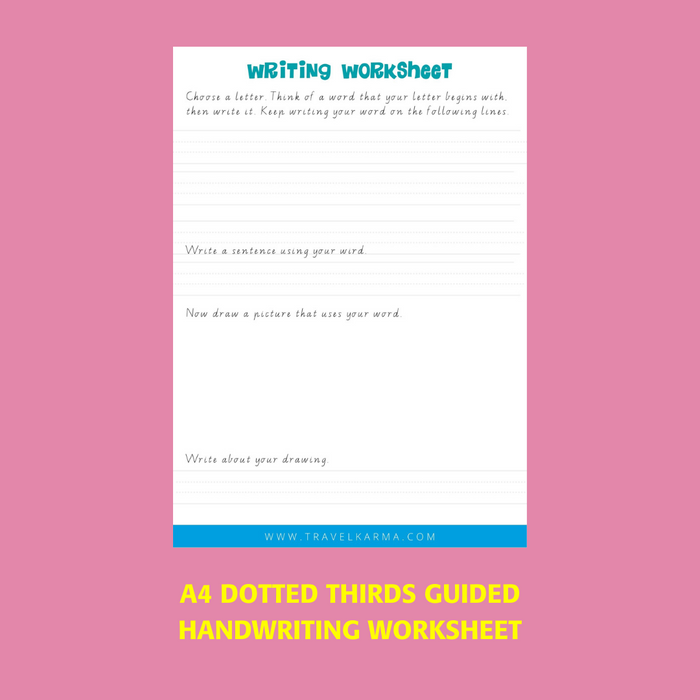 A4 Dotted Thirds printable handwriting worksheet paper