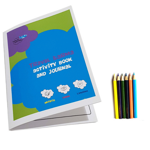 Colouring & Activity Book and Travel Journal with Pencils