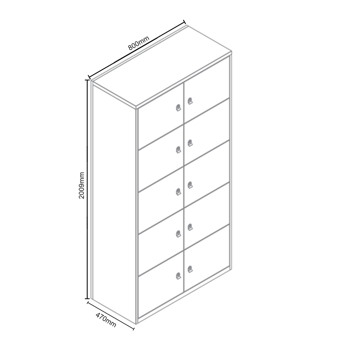Dimensions for Bisley Metal Office Ten Door LateralFile Locker