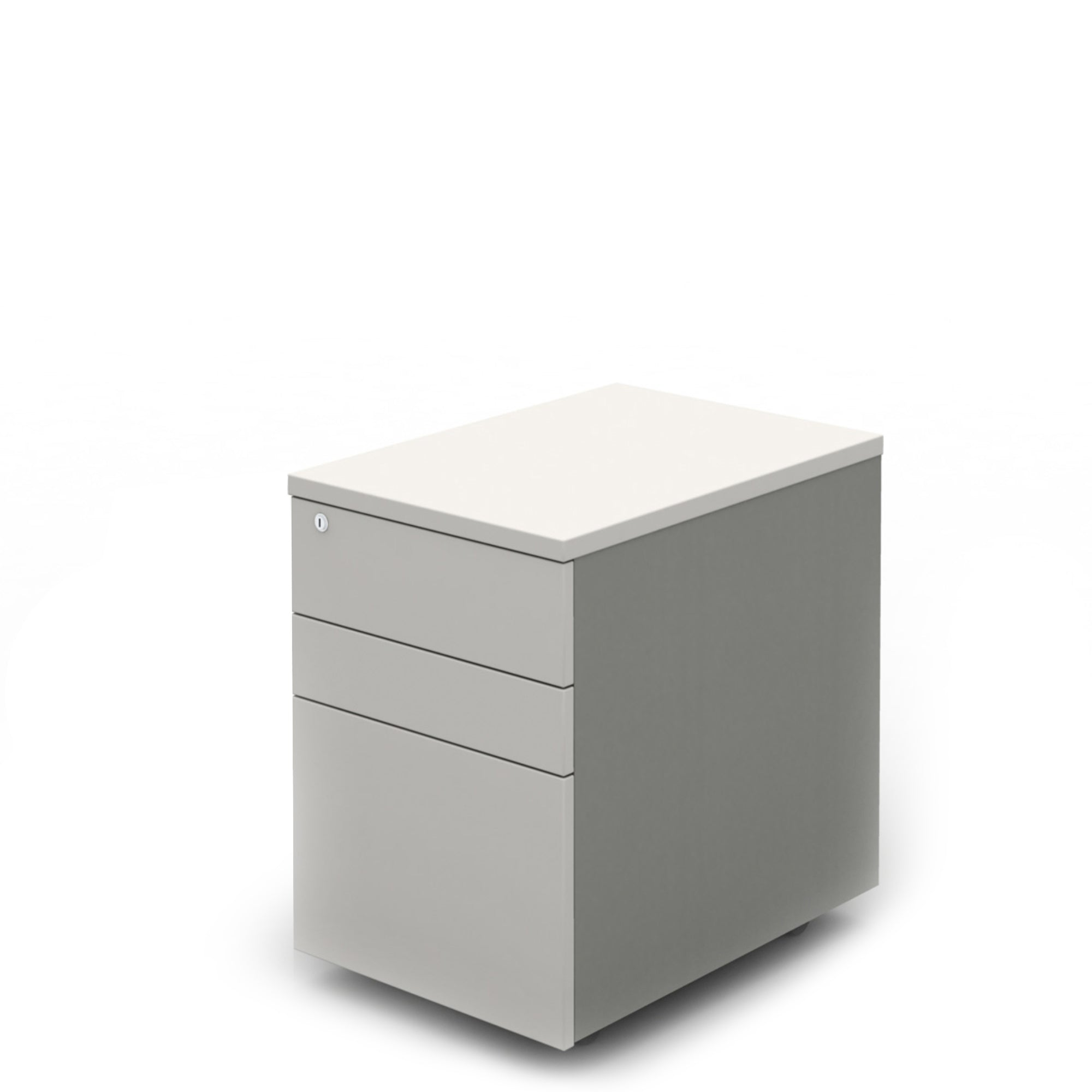 Mobili Office White Three Drawer Mobile Pedestal with Silver Carcass
