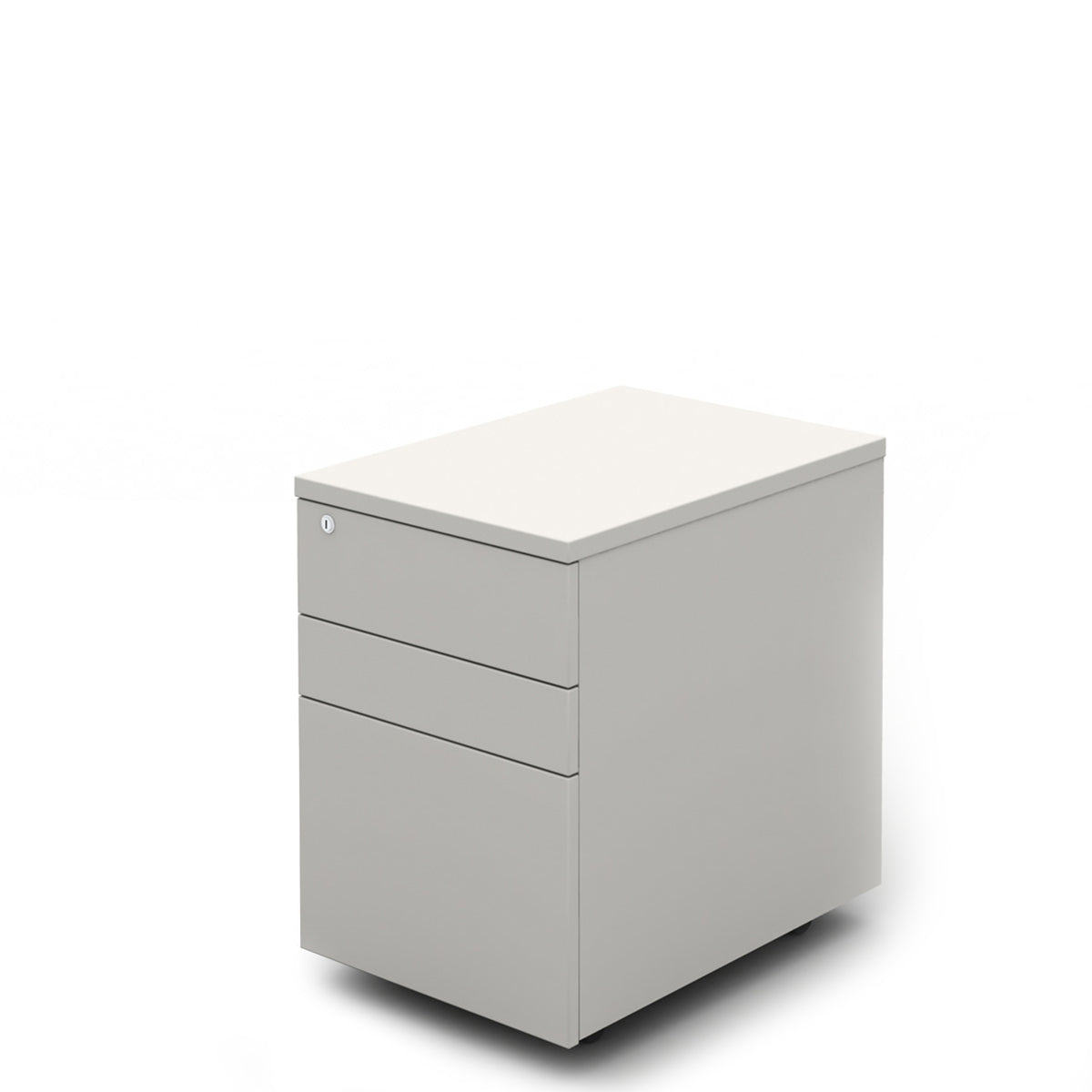 Mobili Office White Three Drawer Mobile Pedestal with White Carcass