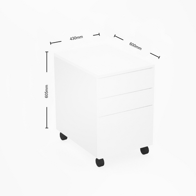 Dimensions for Mobili Office Three Drawer Mobile Pedestal